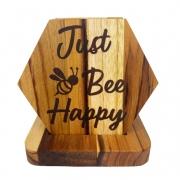 Jogo c/ 4 Porta Canecas Just Bee Happy e Suporte em Madeira Teca