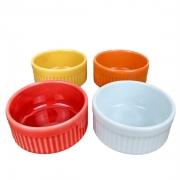 Jogo c/ 4 ramekins refratários coloridos de 50ml cada