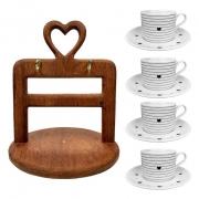 Jogo c/4 Xìcaras de Chá Black & White com pires, 200 ml, em porcelana + Suporte Heart em madeira desmontável