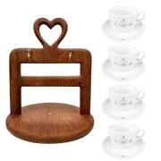 Kit 4 Xícaras de Chá c/ Pires PS I Love You + Suporte Heart em Madeira, Desmontável