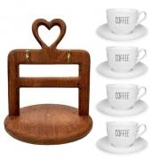 Jogo c/4 Xìcaras de Chá Coffee com pires, 240 ml, em porcelana + Suporte Heart em madeira desmontável
