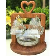 Jogo c/4 Xìcaras de Chá Rendas com pires, 225 ml, em vidro + Suporte Heart em madeira desmontável