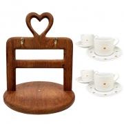 Jogo c/4 Xìcaras de Chá Golden Mary com pires, 200 ml, em porcelana + Suporte Heart em madeira desmontável