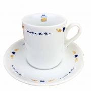 Xícara p/Café c/ Pires, em porcelana, 80ml, coleção exclusiva Poções de Amor