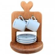 Jogo c/ 4 Xícaras para Café c/pires , em porcelana, 80ml  + Suporte em Madeira
