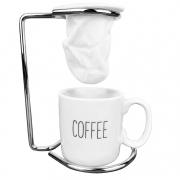 Jogo Coffee Break Lettering c/ 3 Peças (Suporte, Coador e Xícara de Porcelana)