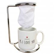 Jogo Coffee Break c/ 3 peças (suporte, coador e xícara de porcelana) coleção exclusiva PS I love you, 100ml