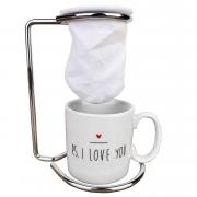 Jogo Coffee Break PS I Love You c/ 3 peças (Suporte, Coador e Xícara de Porcelana)