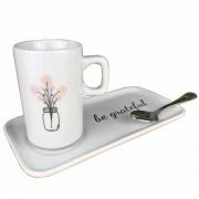 Jogo Coffee Break c/3 peças (xícara/pires em porcelana e colher silver wolff aço inox) coleção exclusiva Garden