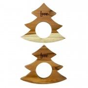 Jogo com 2 Argolas Christmas Tree  Love madeira