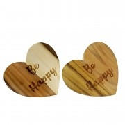 Jogo c/2 Argolas Hearts Madeira Teca escrita Be Happy