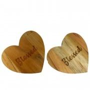Jogo c/2 Argolas Hearts Madeira Teca escrita Blessed