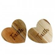 Jogo com 2 Argolas Hearts Madeira teca escrita Faith
