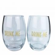 Jogo com 2 copos Drink Me Gold, em vidro, 460ml, coleção exclusiva Lettering