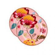 Jogo com 2 pratos para pão Floral Fantasy rosa