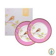 Jogo c/ 2 Pratos p/Sobremesa, porcelana Pip Studio, coleção Early Bird Rosa
