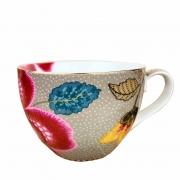 Jogo c/2 Xícaras de chá, porcelana Pip Studio, coleção Floral Fantasy cáqui