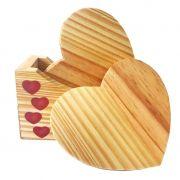 Jogo com 4 porta canecas Hearts e suporte em madeira, red hearts