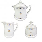 Jogo de Chá c/ 3 Peças em porcelana, coleção exclusiva Poções de Amor