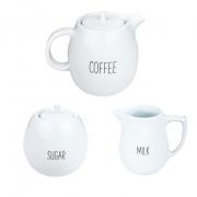Jogo de Chá Coffee c/ 3 Peças, em porcelana, coleção exclusiva Lettering