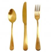 Jogo de Talher p/Jantar em aço inox dourado, c/3 peças