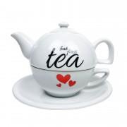 Jogo para Chá But First Tea, c/3 peças, em porcelana, 600ml, coleção exclusiva Lettering