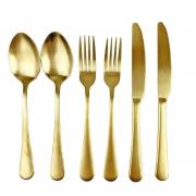 Jogo de Talher p/Jantar em aço inox dourado,p/2 Lugares c/6 peças