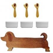 Kit p/Lanche Hot Dog c/7 peças, Tábua p/Servir modelo Dog 48 cm, em madeira nobre + ramekins + espátulas dog