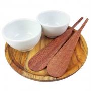 Kit Patê c/2 mini bowls no pratinho de madeira teca e 2 espátulas em madeira