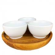 Kit Patê c/ 3 mini bowls em porcelana, no pratinho de madeira teca