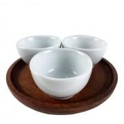 Kit Patê c/  3 mini bowls no pratinho de madeira