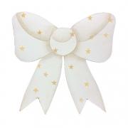 Laço Decorativo em Madeira, 12 cm Branco c/ estrelinhas douradas, para decorar as tábuas de servir