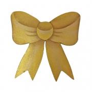 Laço Decorativo Natal em Madeira, 12 cm Dourado, p/ Decorar as Tábuas de Servir
