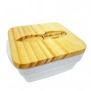 Manteigueira c/Tampa Madeira de reflorestamento, 14,5 cm + Faquinha Butter me up