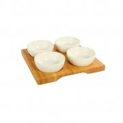 Petisqueira em Bambu, 19,5 cm c/ 4 bowls brancos em cerâmica 80 ml cada