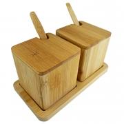 Porta Condimentos c/7 peças em Bambu Natural, 17 cm