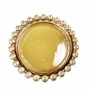 Pratinho individual cristal Pearl Wolff âmbar 10 cm