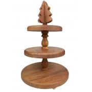 Prato Bailarina c/3 pratos em Madeira, 41 x 26,5 cm, modelo Christmas Tree