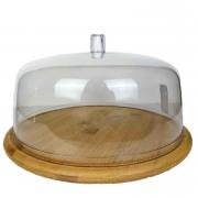 Prato p/Bolo em Bambu c/cúpula de acrilico, 27,5 cm