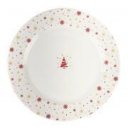 Prato p/Sobremesa, em Porcelana, 20cm, coleção exclusiva Christmas Snow Flakes