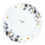 Prato p/ Sobremesa em Porcelana 21 cm Diâmetro, Coleção Exclusiva Garden Bee