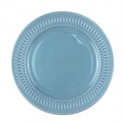 Prato p/ Sobremesa em porcelana, 21cm, com detalhes em alto relevo, azul candy