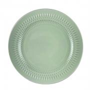 Prato p/ Sobremesa em porcelana, 21cm, com detalhes em alto relevo, verde menta candy