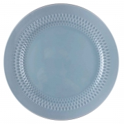 Prato Raso em porcelana, 26cm, com detalhes em alto relevo, azul candy