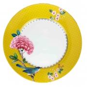 Prato p/ Sobremesa Pip Studio, 21 cm, coleção Blushing Birds Amarelo