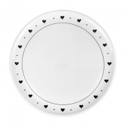 Prato P/ Sobremesa Flat, em porcelana 18 cm diâmetro, coleção exclusiva Black & White