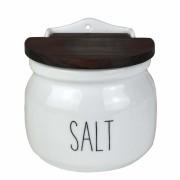 Saleiro Salt em porcelana, c/Tampa de madeira, 500g, coleção exclusiva Lettering