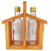 Galheteiro Home em madeira, c/ garrafinhas Oil & Vinegar 280ml