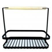 Suporte Organizador Metal preto c/alça de metal e madeira, 22 cm