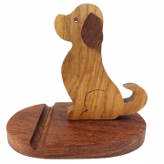 Suporte p/Celular  Dog, em madeira 19 cm